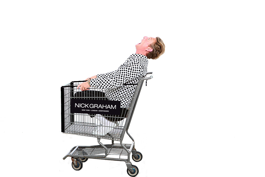 Nick Graham in a shopping cart