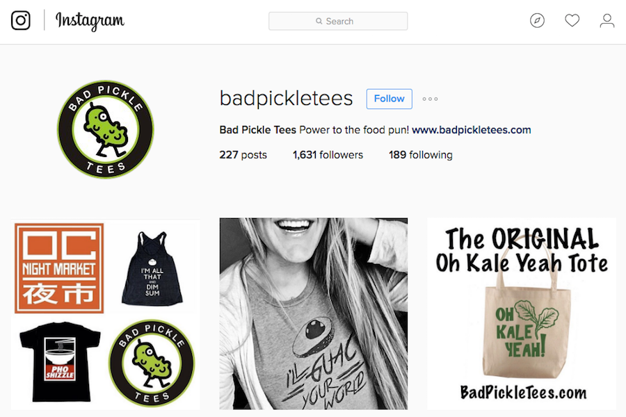 Bad Pickle Tees shows its designs on Instagram