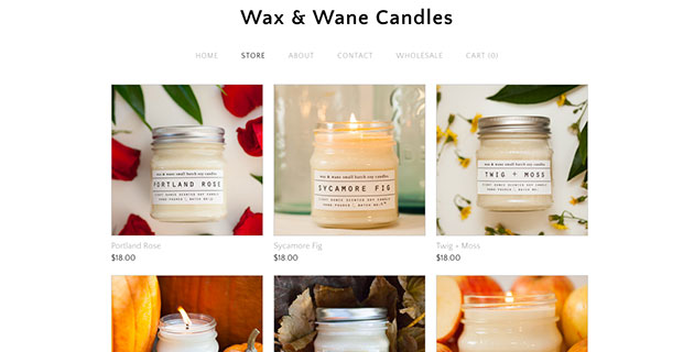Wax & Wane Candles Refreshed Shop Items