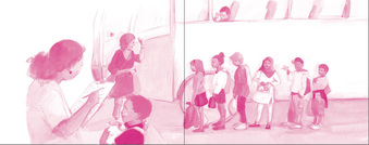 Magenta tinted illustration of diverse group of children