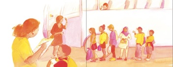 Magenta and yellow tinted illustration of diverse group of children