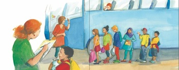 Cyan, magenta and yellow tinted illustration of diverse group of children