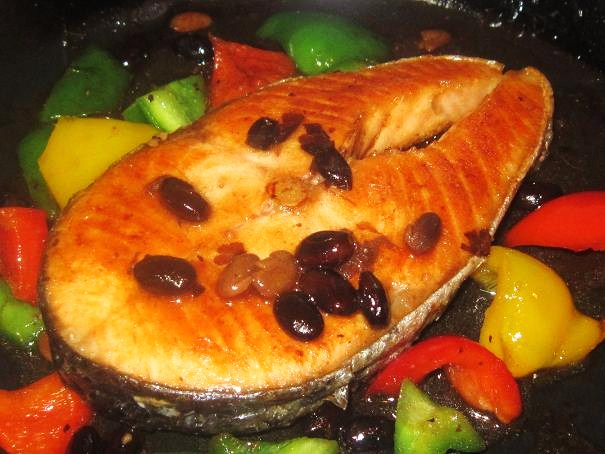 Fried Black Bean Salmon with Capsicum