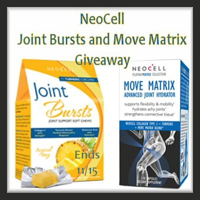 ONE lucky reader will win NeoCell's Join Bursts and Move Matrix (Winner will receive a 30 day supply of both).  #Giveaway ends 11/15