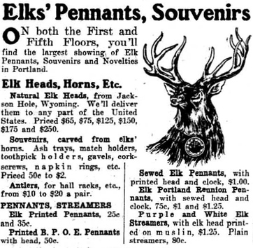 Newspaper ad for Elks souvenirs, 1912