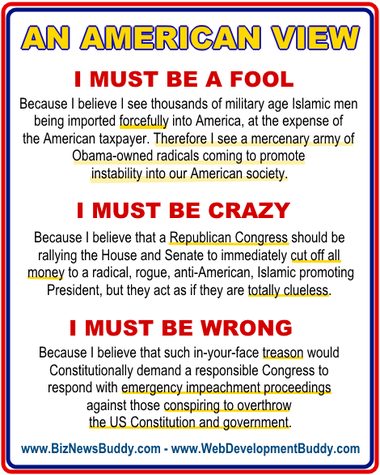Americans are not fools, crazy or wrong.  it is time to stop the madness. #impeachobama