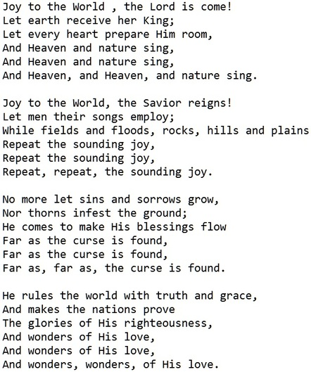 Joy to the world song lyrics