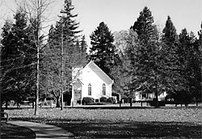 Photo of Kenwood Plaza Park and Kenwood Community Church in Kenwood, California.