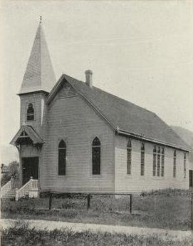 1898. Early photo Kenwood Community Church in Kenwood, California.