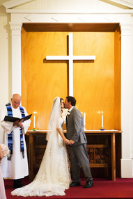Photo of a marriage ceremony at Kenwood Community Church in Kenwood, California.