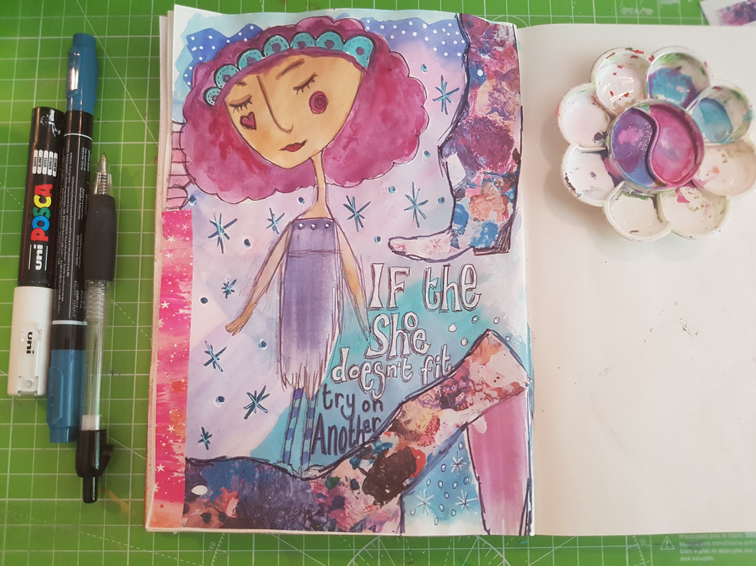 Art Journaling process, creating a page in a zetti art style using collage elements and sketchy girls using Mrs Brimbles Patreon Resources - Kerrymay._.Makes